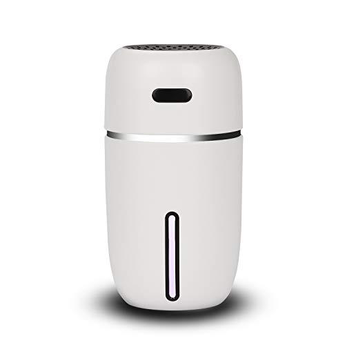 NovoLido Mini USB Umidificatore per Ambienti, Umidificatore Bambini Nebbia Fredda Silenzioso, 7 Luci di Colore LED, Umidificatore Portatile Auto-off per Ufficio/Auto/Camera da Letto (200ml Bianca)