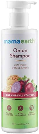 Mamaearth Onion Hair Fall Shampoo for Hair Growth & Hair Fall Control, with Onion Oil & Plant Kerat