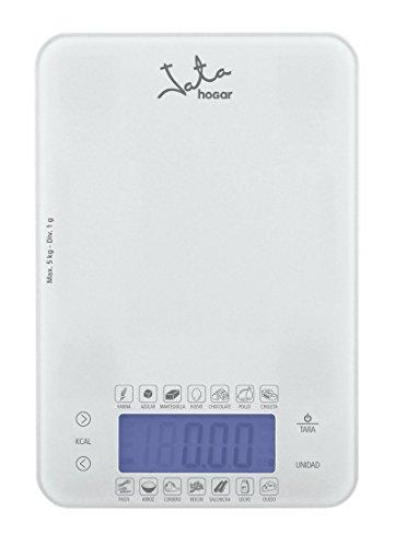 Jata Hogar 762 Balanza electrónica dietética, Capacidad 5kg, 0 W, 5 litros, 0 Decibeles, Cristal Blanco
