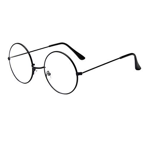 CANDLLY Brille Damen, Mode Oval Runde klare Linse Brille Jahrgang Geek Nerd Retro Style Metal Brillenspiegel flacher Spiegel Gezeitenglasrahmen Brillen Zubehör(Schwarz,One Size