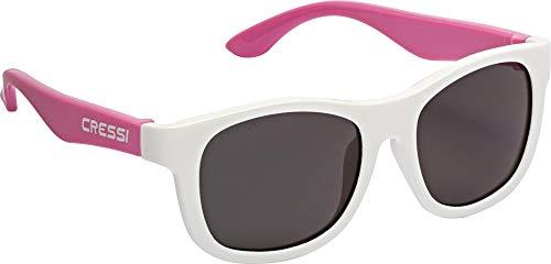 Cressi Unisex- Babys Teddy Sunglasses Polarisiert Kinder Sonnenbrille, Weiß/Rosa/Geräucherte Linse, 3/5 Jahre