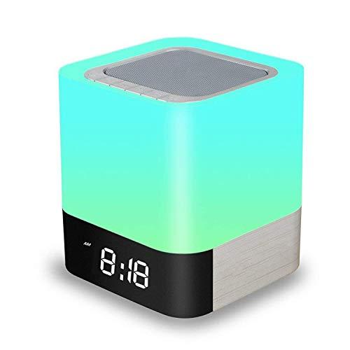 Amouhom Nachttisch Touchlampe, 5 in 1 LED Schreibtischlampe mit Bluetooth Lautsprecher 12/24H Digital Wecker 48 Farben&4000mAh Batterie Unterstützt SD Karte, Beste Geschenke für Kinder/Freunde
