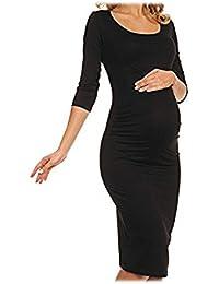 Justshoppin Womens Ladies Maternity Long Midi Maxi 3 4 Sleeve Pregnancy  Nursing Dress Wear 12936d3c66c5