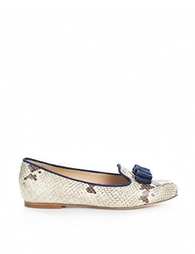 Shoevita Artesanal Loafer Chinelo De Couro Python E Tamanho Azul Escuro 33 - 45 Beige