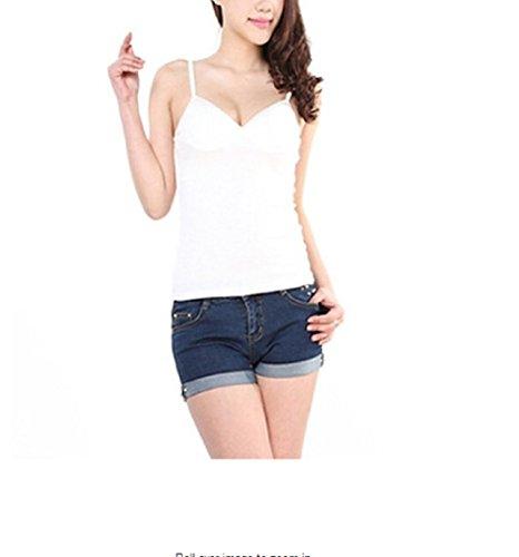 mcdslrgo Coupe Slim Sexy Lady femmes Sangle réglable pour femme modal Gilet Débardeur avec soutien-gorge rembourré pour femme camisol Blanc - Blanc