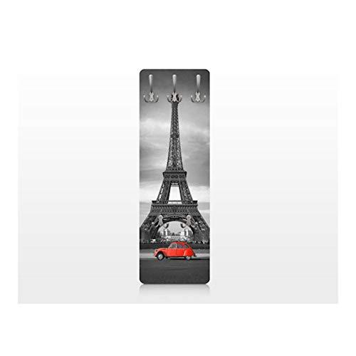 BIlderwelten 67533 Wandgarderobe Spot on Paris | Design Garderobe Garderobenpaneel Kleiderhaken Flurgarderobe Hakenleiste Holz Standgarderobe Hängegarderobe | 139x46cm