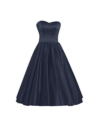 Find Dress Femme Elégant Robe de Soirée/Cocktail/Cérémonie Style Empire Robe Bustier en Satin Elastique Lacet Marine Foncé