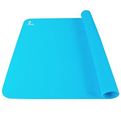 antihaftbeschichtet, doppelte Dicke Silikon/Backmatte Extra Large für Backpinsel hitzebeständig rutschfeste Tisch Matte Teig Ausrollmatte,, Displayschutzfolie, Pie und Fondant Matte 60× 40cm (blau) (Counter-tisch-set)