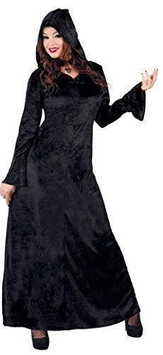 Fancy Me Damen Zauberin schwarz Samt Hexe Gothik mittelalterlich Halloween Kostüm Kleid Outfit 14-18 - Schwarz, UK 12-14