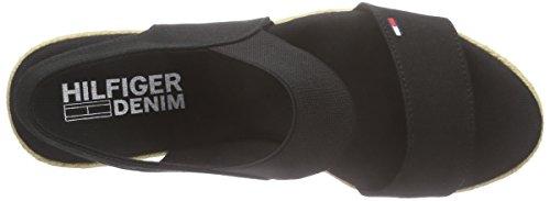 Tommy Jeans L1385ala 6d, Sandales à talon compensé femme Noir - Noir (990)