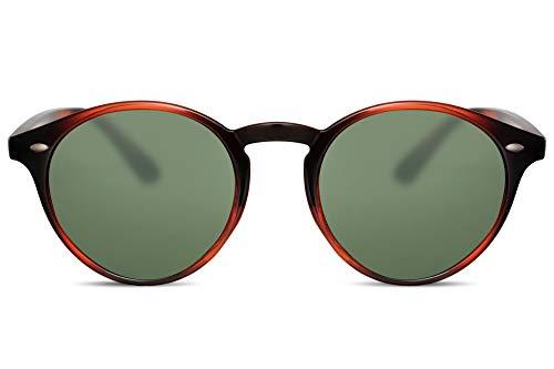 Cheapass Sunglasses Rund Braun Schwarz Grün-e Gläser UV-400 Designer-Brille Plastik Damen Herren