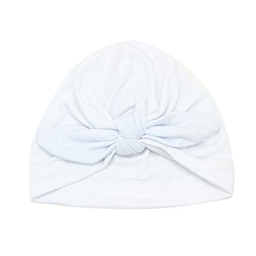 Runrain - Newborn baby hat with soft cotton bow, warm white white Size: Suitable for 1-6 years old baby
