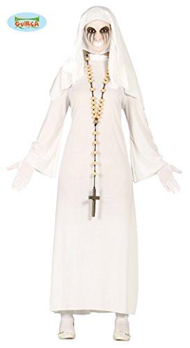 Geist Nonne Kostüm für Damen Weiss Gespenst Damenkostüm Halloween Horror Gr. M-L, Größe:L