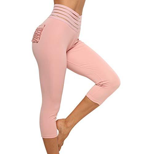 ABsoar Damen Sport Cropped Hosen Sommer Casual Sweathose Frauen Plissee Pocket Freizeithosen Stitching Hip Yoga Sieben Punkte Leggings