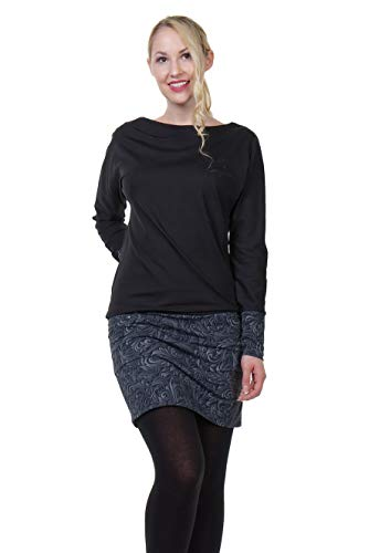 DREI Elfen Kleider Kleid Damen Taschen Langarm Kleid Mini Rock Sweat Shirt schwarz - dunkelornament ()
