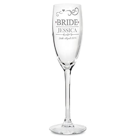 Personalised Bride Glass Flute Mr & Mrs Design Persoanselid With Name And Date Personalised Mr &