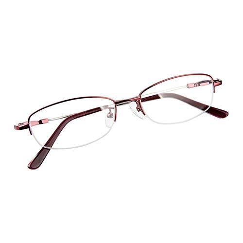Fuyingda Wein Rot Memory Metall Hälfte Rahmen Kurzsichtigkeit Brille, Frau Anti-Strahlung Kurzsichtige Brillen Kurzsichtig Goggles Spectacles Eyewear -4.50 Stärke