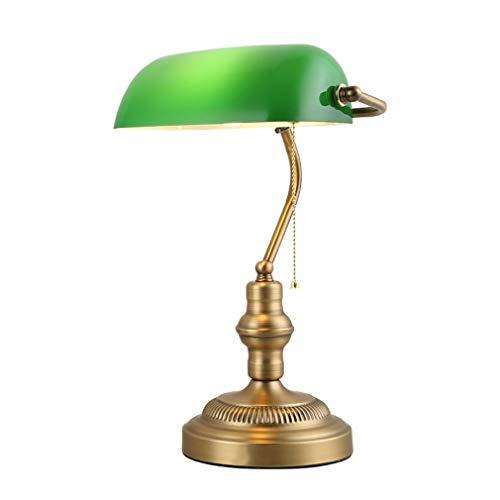 STEAM PANDA Antigua lámpara de Escritorio Tradicional de Bronce para banqueros, Pantalla de Vidrio Verde, Sala de Estar, Sala de reunión, Estudio, Lectura, lámpara de Mesa