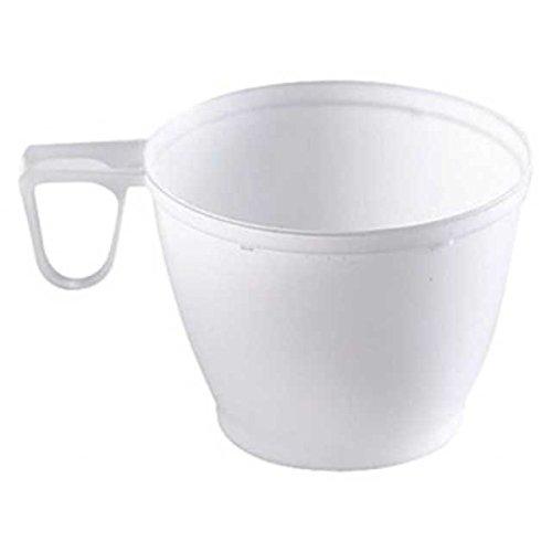 300 Stk. Einweg-Kaffeetasse Henkeltasse, 180ml mit geschlossenem Griff, PS, weiß