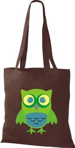 Stoffbeutel Bunte Eule niedliche Tragetasche Owl Retro diverse Farbe braun