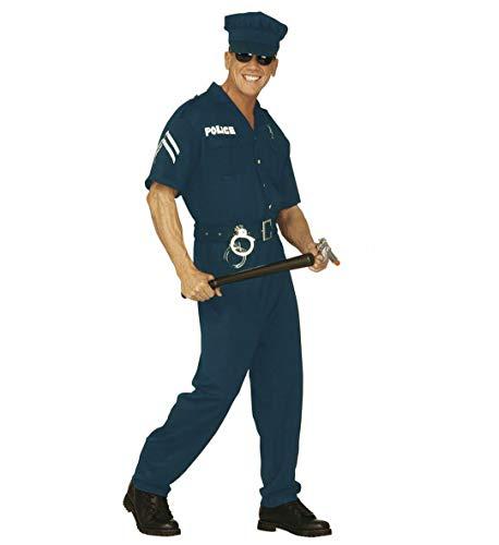 Nerd Clear Polizei Kostüm für Herren | Overall, Gürtel, Kappe | Größe L