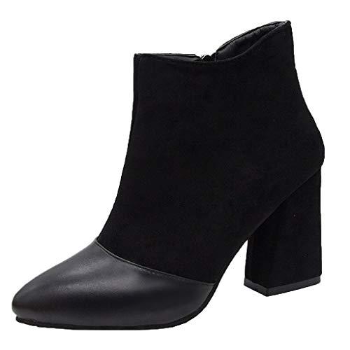 generisch Damen Stiefeletten Chelsea Boots mit Blockabsatz Profilsohle Frauen Starke Ferse Stiefeletten Spitzkopf Kurze Röhre Damenstiefel Freizeitschuhe Damen Grace Chelsea Boots -