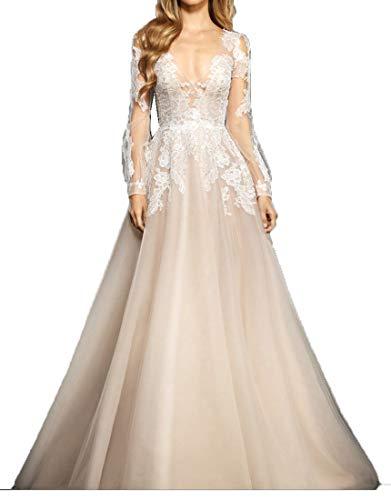 Original Love Dress Langarm Brautkleider mit Spitze V-Ausschnitt Tüll Champagner Strand Brautkleid...