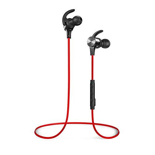 RQINW Drahtloser Bluetooth-Kopfhörer-Sport, der In-Ear-Ohrhörer IPX6 läuft, wasserdichtes Schwimmen, das Subwoofer Lange Standby, für alle Arten Bluetooth-Geräte V4.1. Badet,Red (Sport-ohrhörer Läuft)