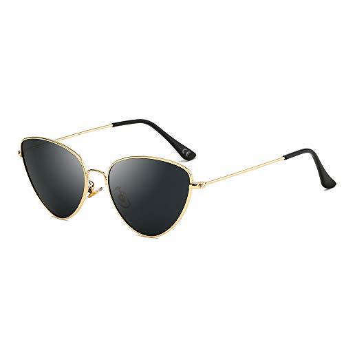AMZTM Katzenauge Sonnenbrillen - Vintage Retro Brillen für Mädchen Damen UV400 Schutz HD Vision Sonnenbrille Damenmode Sonnenbrillen (Goldener Rahmen, graue Linse)