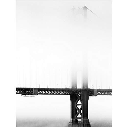 floolter Tirages photographiques Paysage Marin Peinture Peinture Noir et Blanc Photos Pont dans Le Brouillard Moderne décor à la Maison Art Affiche géante 18x24 Pouces Imprimer Uniquement