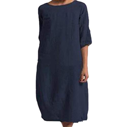 EnergyWomen Solid Colored Plus Size Linen Casual Half Sleeve Casual Dress Navy Blue XS (Low Prom Dress Blue High)