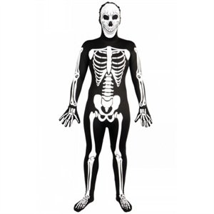 Skelett SKINZ Lycra Spandex Body Hautenger Ganzkörper Anzug XS Max 158cm (Skinz Kostüm)