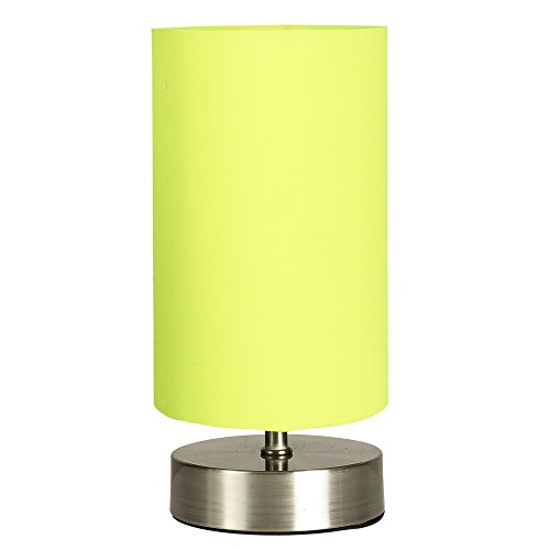 Table lamp green amazon modern chrome touch dimmer bedside table lamp with green cylinder light shade aloadofball Images