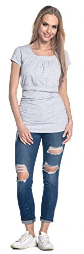 Happy Mama. Femme T-Shirt de Maternité Allaitement Double Couches Col Rond. 136p Gris Clair Mélangé