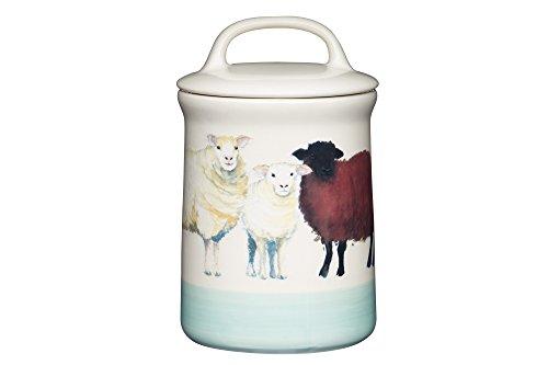 Kitchen Craft Apple Farm Handgefertigter, luftdichte Vorratsdose Sally Sheep, Keramik, Creme/Grün, 10.5 x 10.5 x 17.5 cm