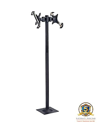 Allcam FS945 Bolt Down Floor Stand with Vesa Bracket + Universal Twin Double Adjustable Tablet Mount for all iPad, Samsung Galaxy Google Nexus and all 8