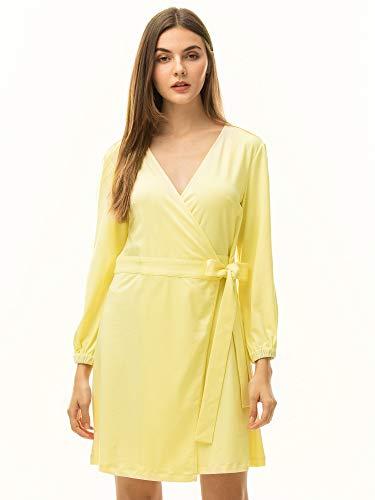 MessBebe Sommerkleid Damen Wickelkleid Elegant V Ausschnitt Kleider Knielang Strandkleid Abendkleid