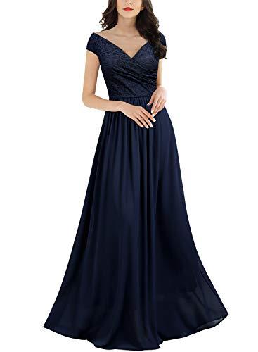 Miusol Damen Elegant V-Ausschnitt Ärmellos Spitzenkleid Partykleid Brautjungfer Cocktailkleid...
