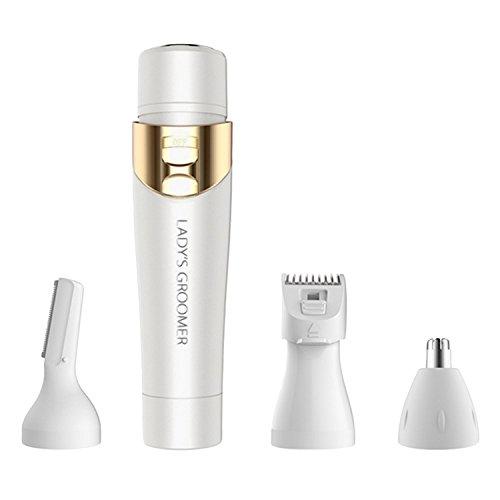 Vococal - 4 en 1 Multifuncional Señora Eléctrica Mujeres Shaver Hair Remover Body Facial Lip Nose Hair Ceja Trimmer Shaping Razor