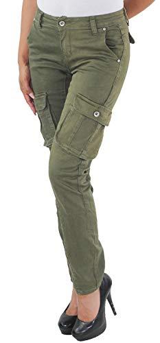 Damen RÖHRENHOSE Cargohose HÜFTHOSE Jeans Stretch Boyfriend Chino Skinny Hose Baggy Haremshose C-Khaki 34 (XS) -