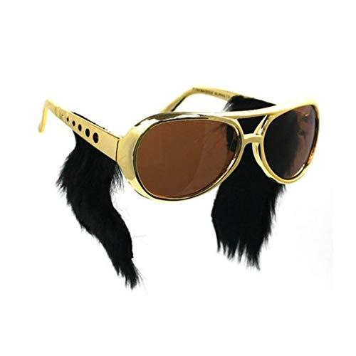 EROSPA® Sonnenbrille Elvis Presley mit Kotletten - Gold / Schwarz (Elvis Kostüm Schwarz)