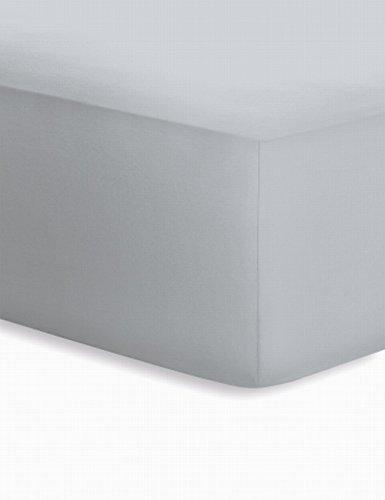 Schlafgut Jersey-Elasthan Boxspring Spannbetttuch, Baumwoll-Mischgewebe, Platin, 220 x 100 cm