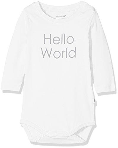 NAME IT Unisex Baby Strampler NBNDELUFIDO LS Body NOOS, Weiß (Snow White), 56