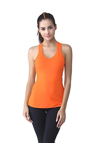 Tofern Femme Yoga Lot de 1 * Débardeur Bretelles Croisées+1 * Corsaire Pilates Galbant Multifonction Fitness Musculation Gym Running Orange