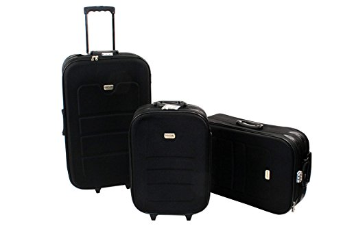 3 teiliges EVA Kofferset schwarz Polyester Trolley Reisekoff