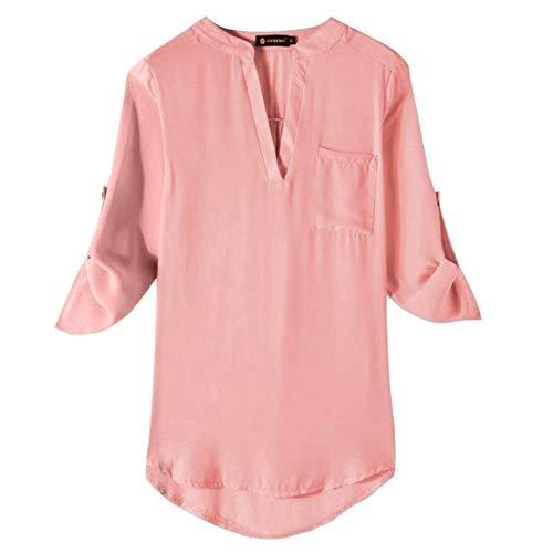 Damen Tops Bluse SUNNSEAN Frauen Langarm Herbst Einfarbig Lose V-Ausschnitt Tuniken T-Shirt Lässige...