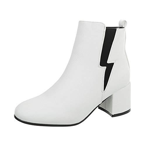 Ital-Design Damenschuhe Stiefeletten Klassische Stiefeletten Synthetik Weiß Gr. 38