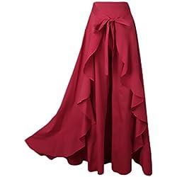 ae8196b98 Mujer Falda Pantalon Elegantes Cintura Alta Falda Pantalon Largas Color  Solido Irregular con Volantes Moda Casual