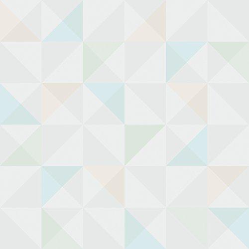 Reflections 5928 Vlies-Tapete geometrisches Motiv Quadrate und Dreiecke in nude, hellgrau, hellblau, helloliv und cremeweiß