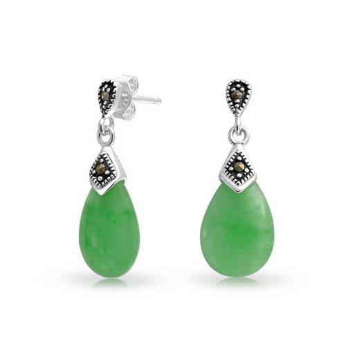 Für Jade-schmuck Frauen (Bling Jewelry 925 Silber gefärbt grün Jade Teardrop Ohrringe Markasit)